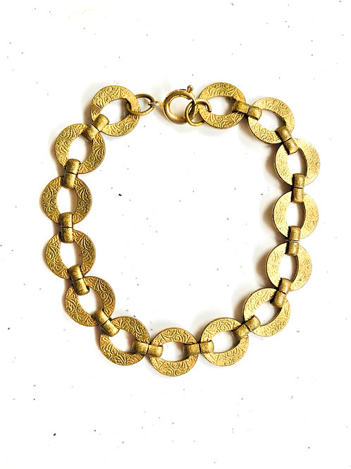 Vintage Textured Circle Chain Bracelet