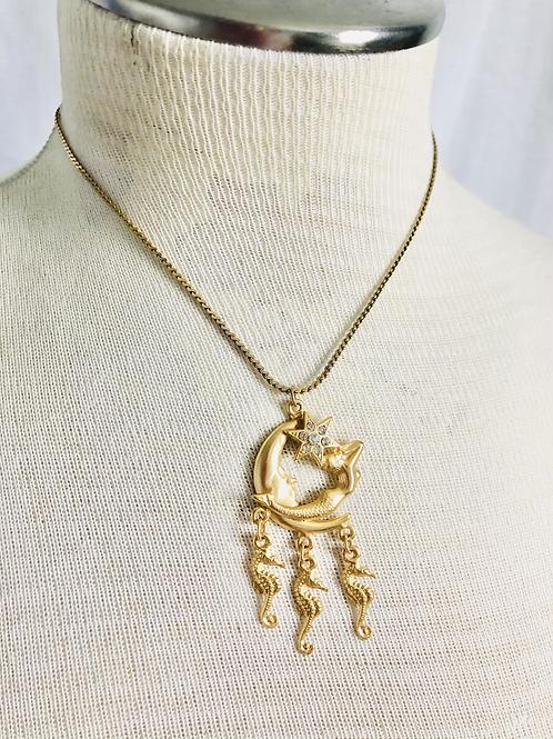 Vintage Moon, Mermaid, and Seahorse Star Necklace