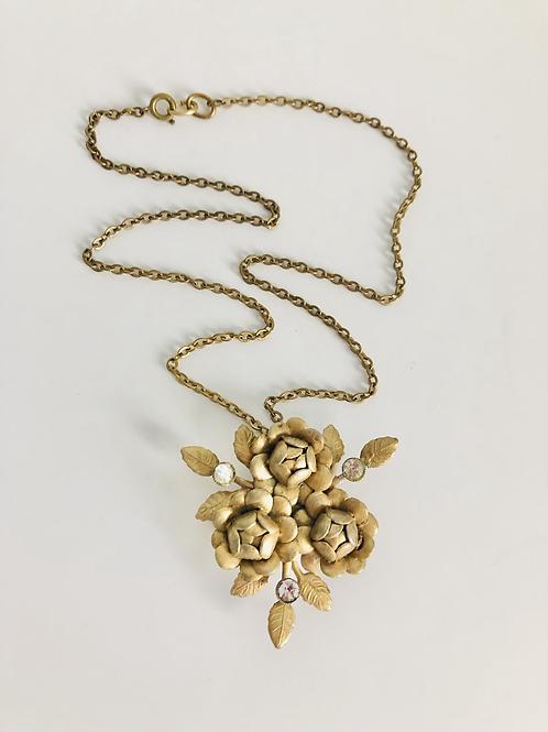 Vintage Brass Flower and Rhinestone Broach Necklace