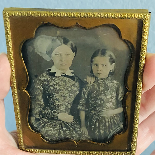 Vintage Framed Photo of Two Sisters