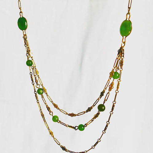 Vintage 3 Strand Gold and Green Stone Necklace