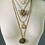 Thumbnail: Vintage Brass Flower and Rhinestone Broach Necklace