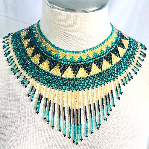 Intricate Hand Beaded Yellow, Blue and Black Statement Necklace