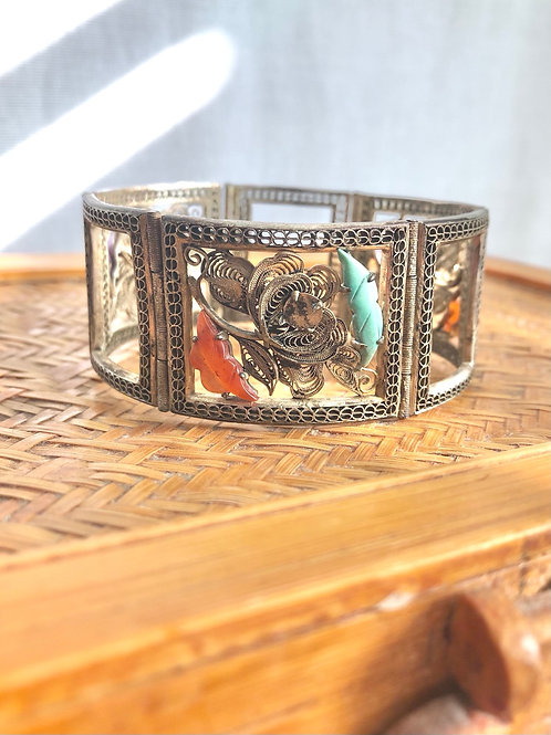 Stunning Vintage 3 Panel Filigree Chinese Bracelet