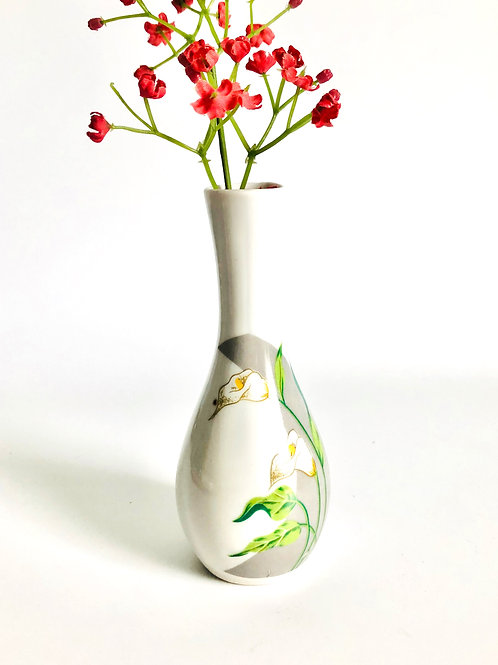 Vintage Small Slender Bud Vase with Floral Accents