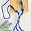 Thumbnail: Hand Beaded Blue Glass and Rhinestone Necklace