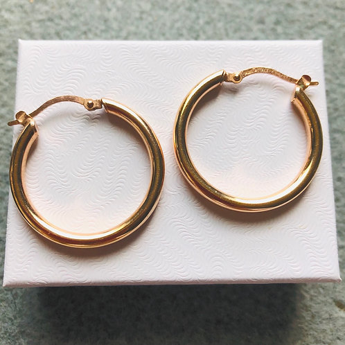 Vintage Minimalist Gold Over Sterling Italian Hoops