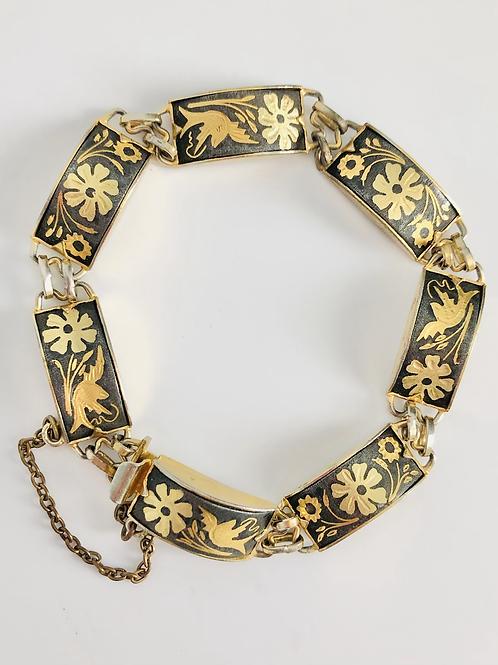 Vintage Bird and Flower Damascene Panel Bracelet