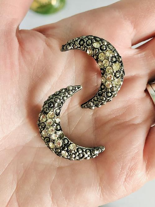 Set of 2 Vintage Crescent Moon Rhinestone Scatter Pins