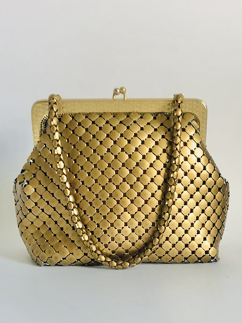 Vintage MidCentury Gold Mesh Whiting and Davis Purse