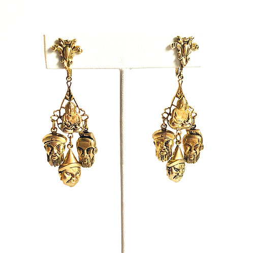 Vintage Buddha and Face Charm Earrings