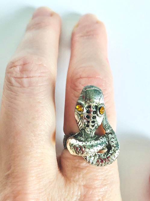 Vintage Snake Ring with Adjustable Band