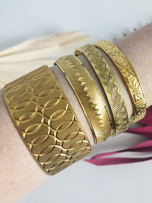 Vintage Set of Four High Quality Gold Plated Bangle Bracelets