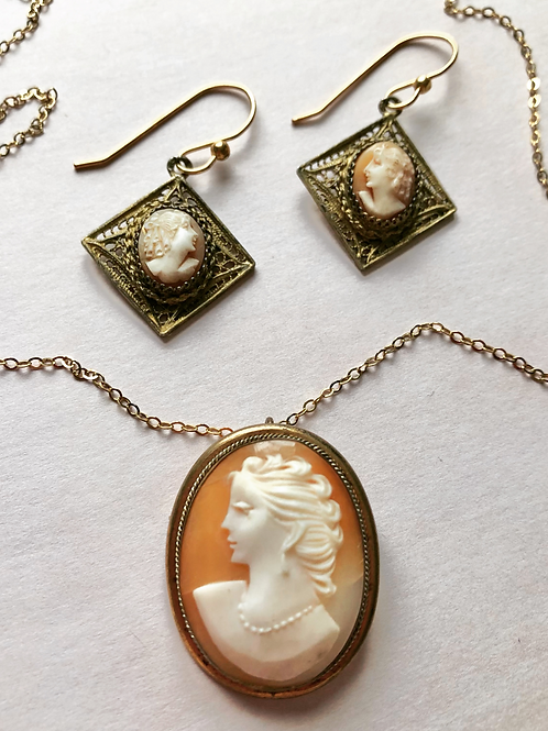 Vintage Cameo Necklace and Earrings