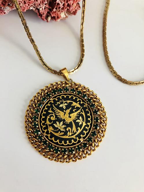 Rare Vintage Damascene Pendant with Emerald Green Rhinestones