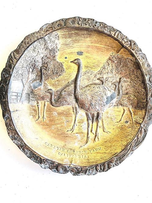 Rare Cawston Ostrich Farm California Antique Souvenir Plate