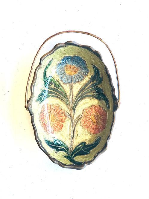 Vintage Brass and Enamel Floral Mini Basket
