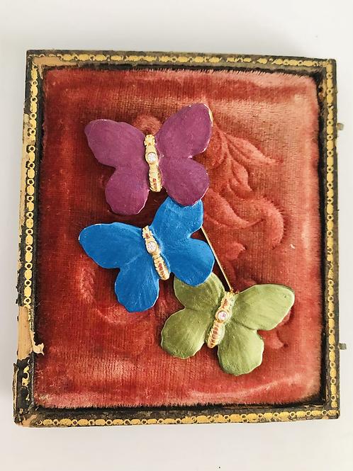 Purple, Blue, Green Vintage Butterfly Broach Pin