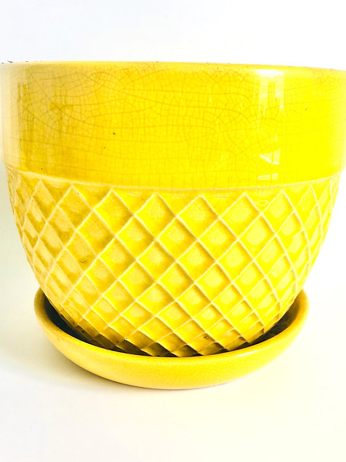 Yellow Plant Pot with Woven Pattern