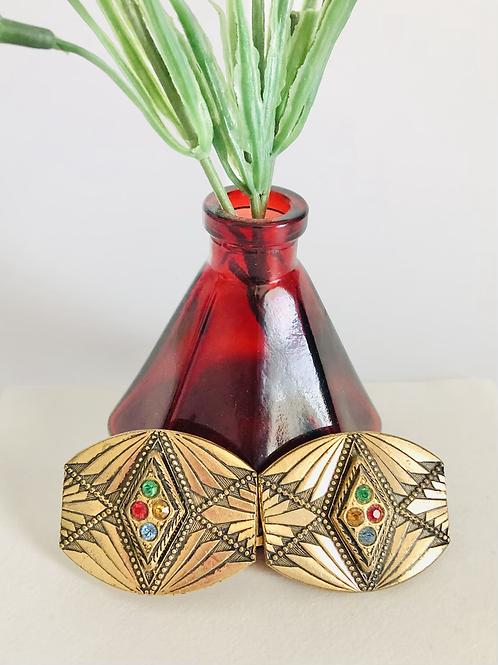 Vintage Art Deco Brass Buckle with Multicolor Rhinestones