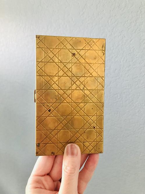 Art Deco Design Brass Cigarette Case