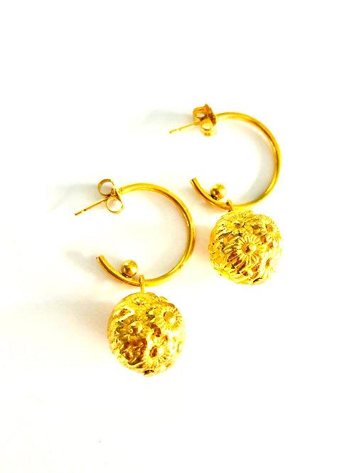 Vintage Goldtone Hoops with Floral Bead Drops