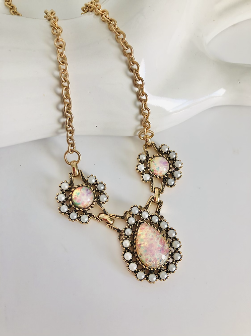Vintage Faux Opal and Pearl Teardrop Necklace
