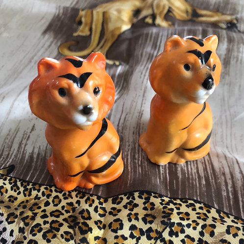 Set of 2 Vintage Japanese Orange Tigers