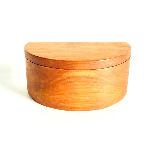Vintage Half Moon Wood Jewelry Keepsake Box