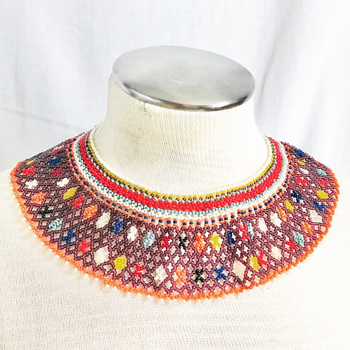 Vintage Colorful Beaded Statement Collar