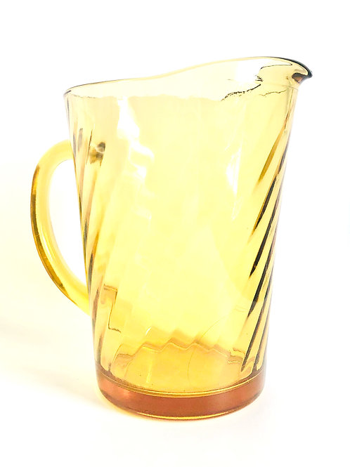 Large Vintage Yellow Glass Water/Juice Pitcher