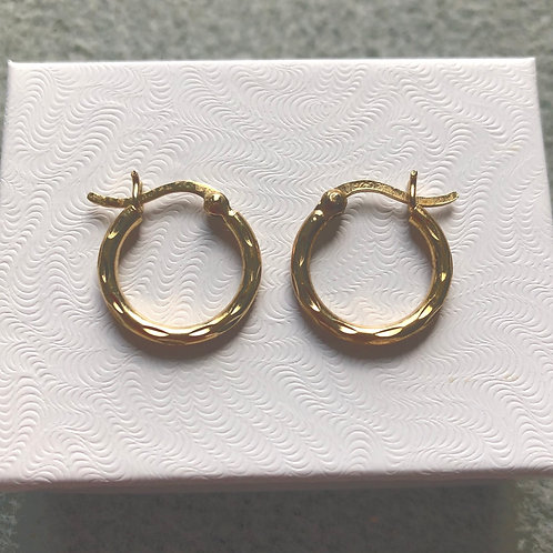 Small Textured Gold Over Sterling Vintage Hoops