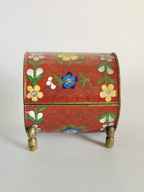 Vintage Red Cloisonné Enamel Keepsake Box with Brass Feet