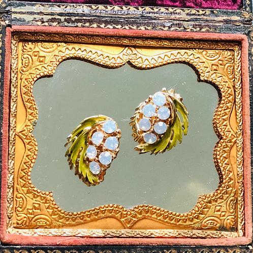 Vintage Opalescent Clip Earrings with Enamel Leaves