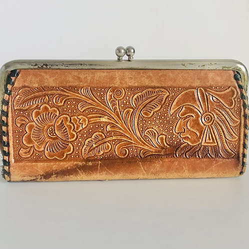 Vintage Hand Made Tooled Leather Aztec Style Pouch