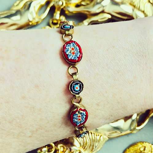 Vintage Red, White and Blue Micro Mosaic Bracelet