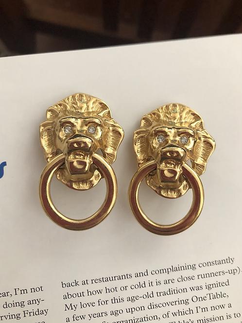 Vintage KJL for Avon Lion Head Doorknocker Earrings