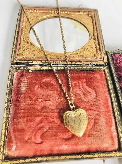 Vintage Flower and Kite Goldfilled Heart Locket Necklace