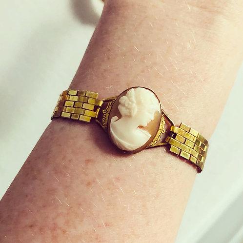 Rare Vintage Cameo Gold Filled Bracelet