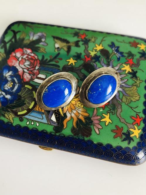 Large Lapis Vintage Sterling Pierced Earrings