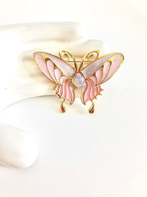 Foil Opal and Pink Enamel Butterfly Brooch
