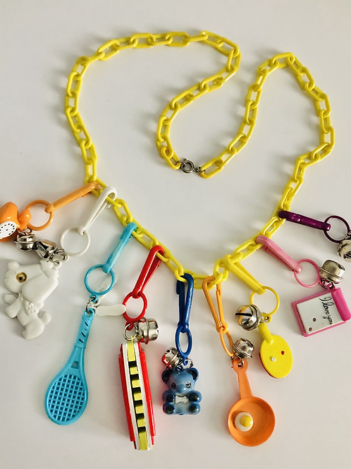 Super Fun Yellow 1980s Charm Necklace