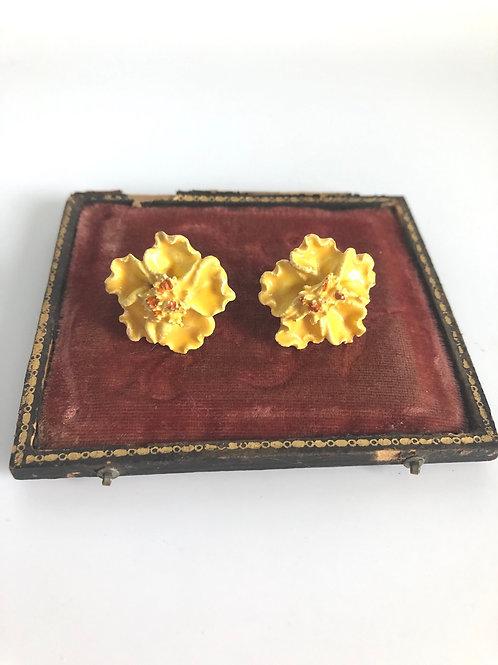 Vintage Yellow Flower Screw Back Hand Painted Earrings