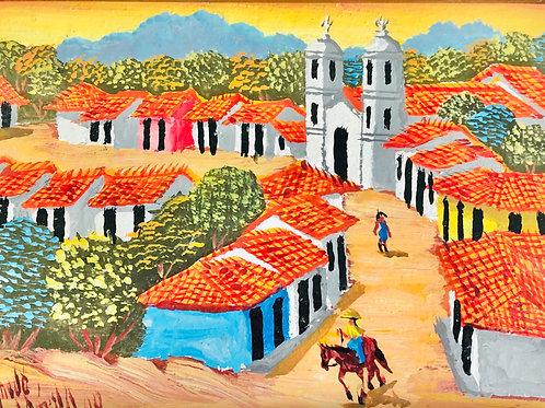 Small Hand Painted Folk Art Village Framed Painting