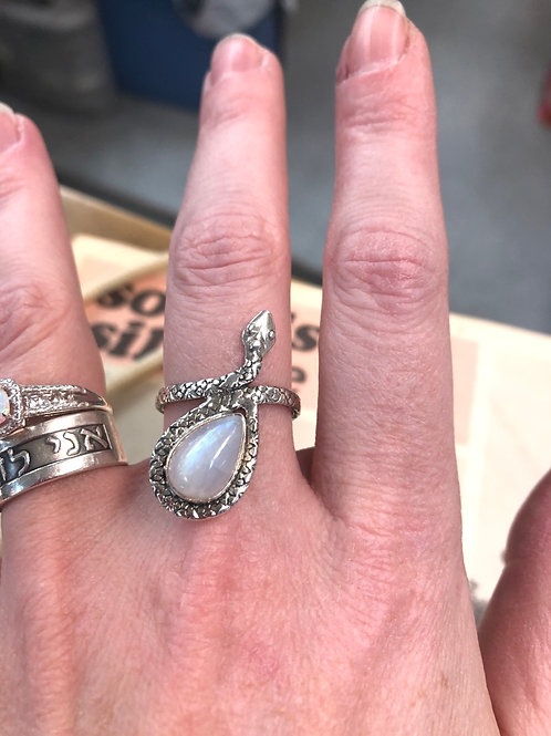 Rebirth  Sterling Silver Snake with Moonstone Egg Ring