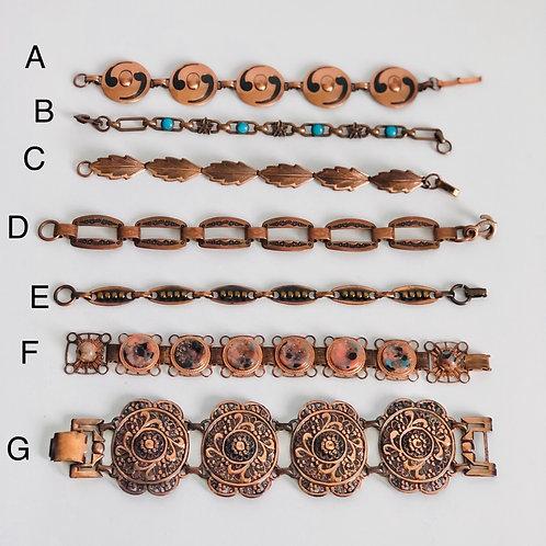 Vintage Copper Bracelets Choose Your Letter