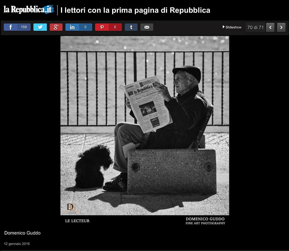 """La mia foto """"Le Lecteur"""" pubblicata on line dal giornale La Repubblica."""