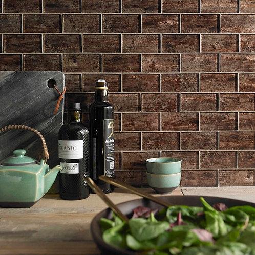 Wood Effect Glass Brick Mosaic