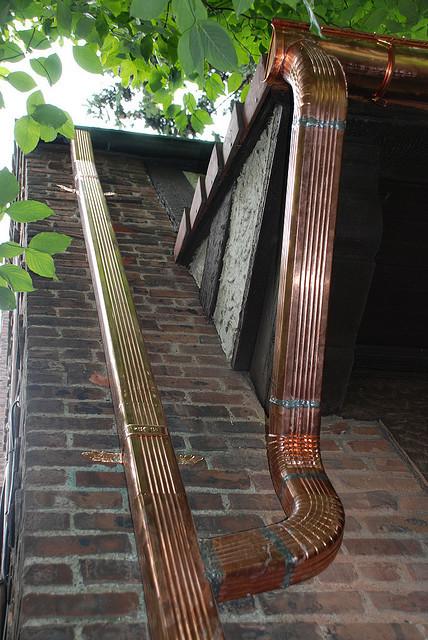 Copper corrugated downspouts