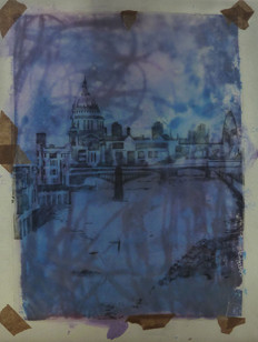 Mixed media - tracing and tape over mono